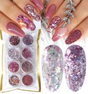 8 Box Mix Glitter Nail Art Powder Flakes Set