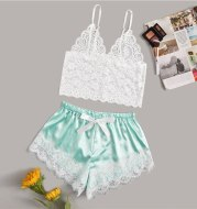Lace two-piece suit with suspenders