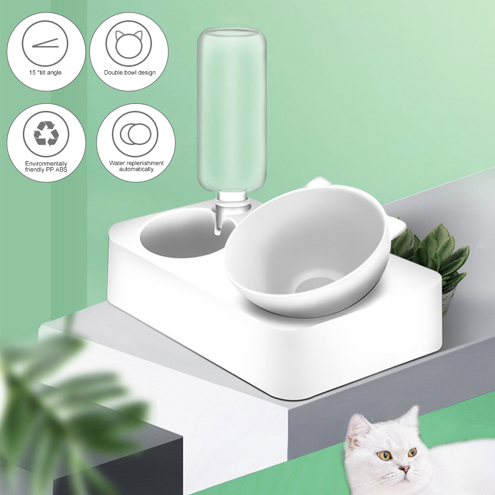 Pet Bowl Automatic Feeder Dog Cat Food Bowl with Water Dispenser