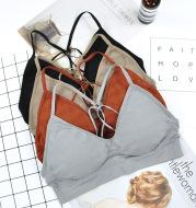 Striped stitching strappy bra