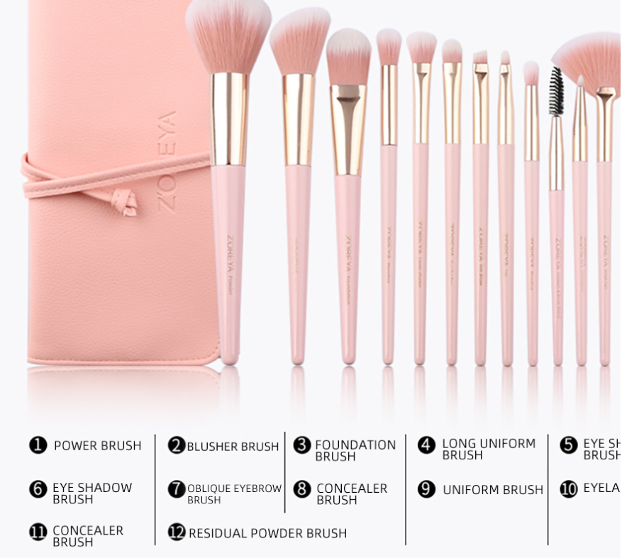 Makeup Brush Set 12 Pcs with pink cosmetic pouch rayon fiber for foundation loose powder eyeshadow blending beauty tool