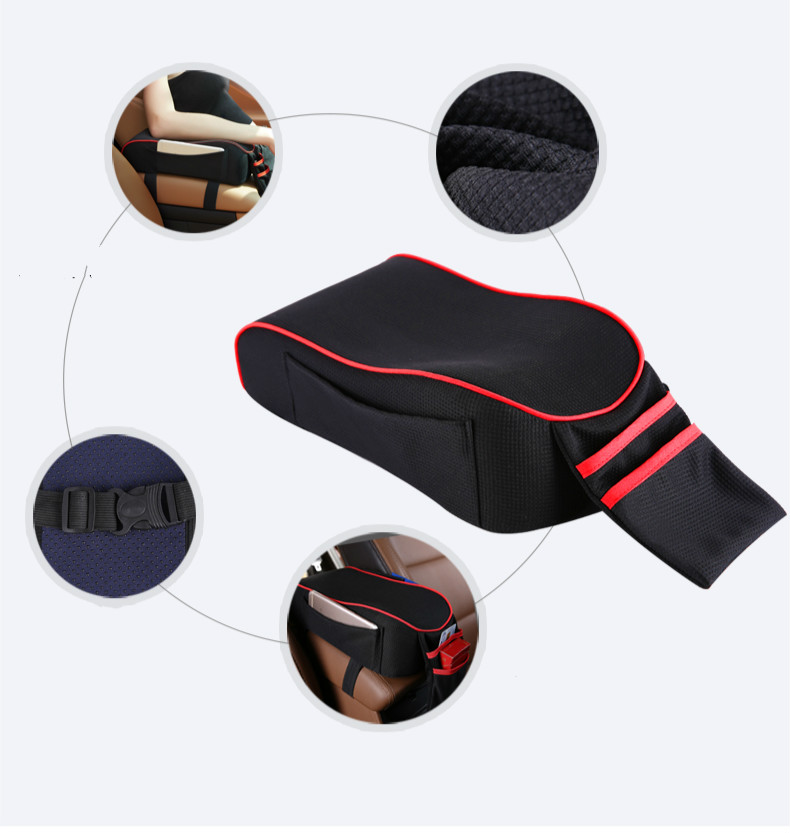 Car armrest box pad central hand box increase pad universal memory cotton multi-function car modified armrest pad allinonehere.com