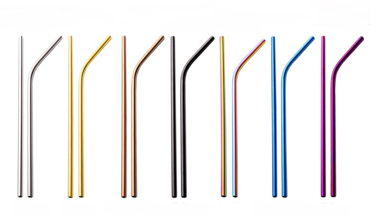 Stainless Steel Reusable Straw Set 3 PCS With Cleaning Brush & Pouch, Multi-Color Options