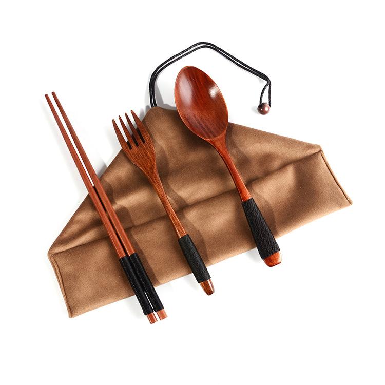 4pcs Japanese Wooden Spoon Chopsticks Tableware Set