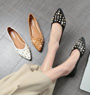 women's new summer pointy light toe solid color rivet Korean version fashion casucal shoes flats