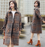 Simple woolen jacket autumn 2018 trend pure color long-sleeved POLO collar personality show thin and slim