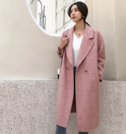 Long-sleeved conventional pocket woolen jacket in the new winter fashion trend of pure color 2018