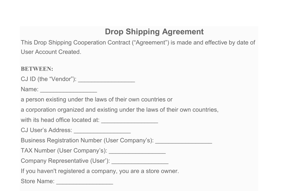 Downloadable Dropshipping Agreement For Ebay Shopify Amazon Lazada Shopee Dropshippers